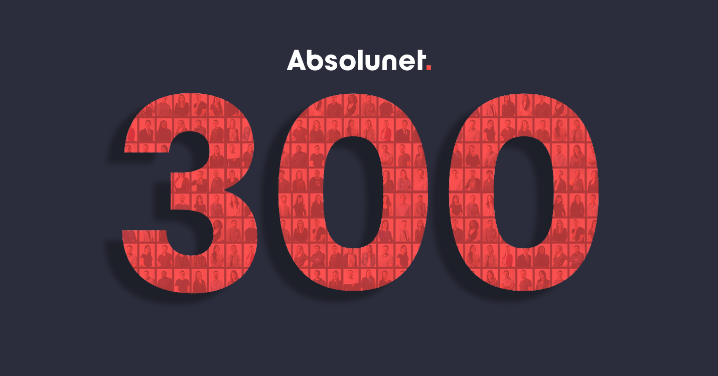 The number 300 written in coral on a navy blue background. Images of people are visible within the 300.