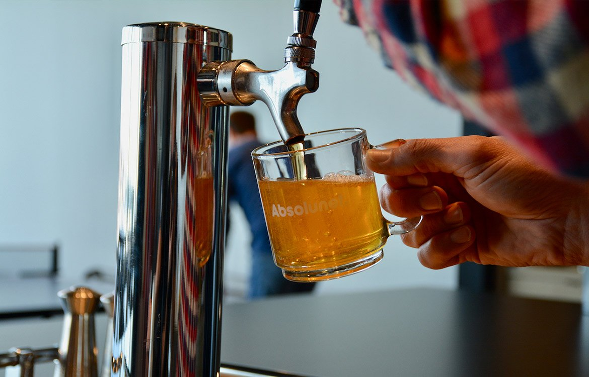 Beer on tap at the AbsoBar