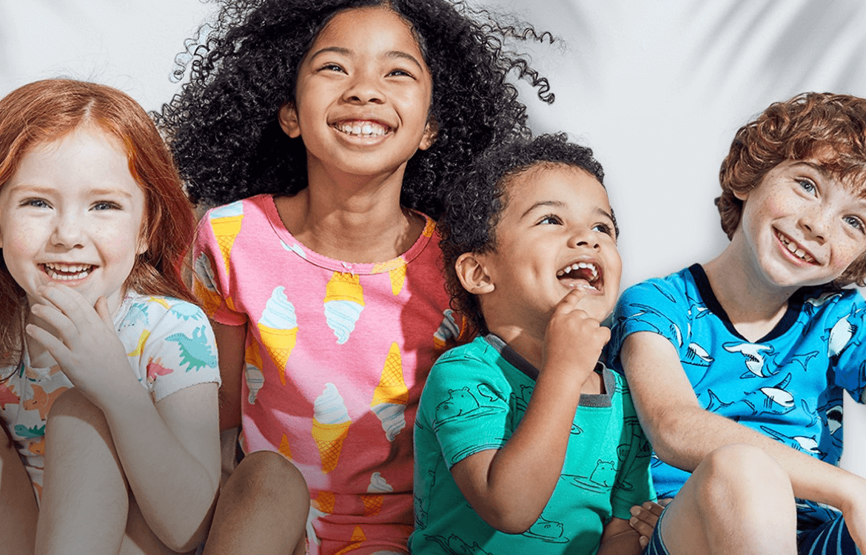 Children wearing brand name clothing