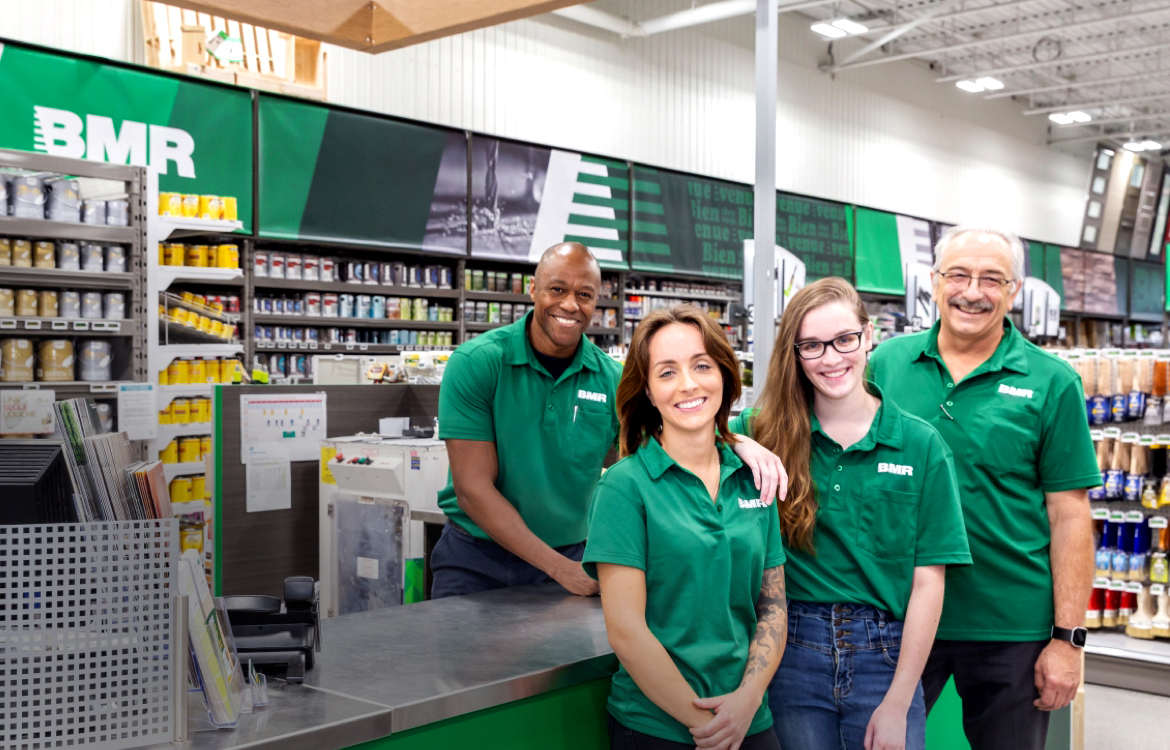 Employees in a BMR hardware store