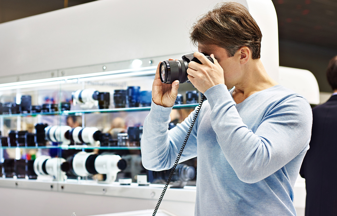 Man shopping for camera