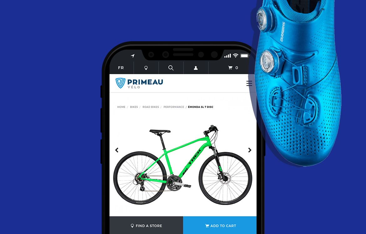 Focus on product on the website of Primeau velo