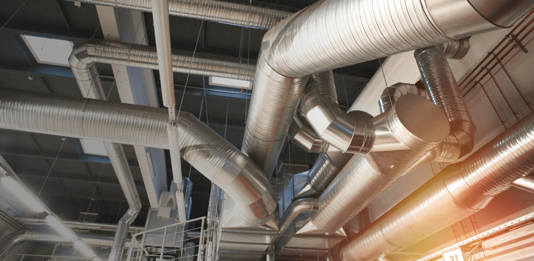 Mechanical systems and heating pipes to demonstrate the HVAC industry