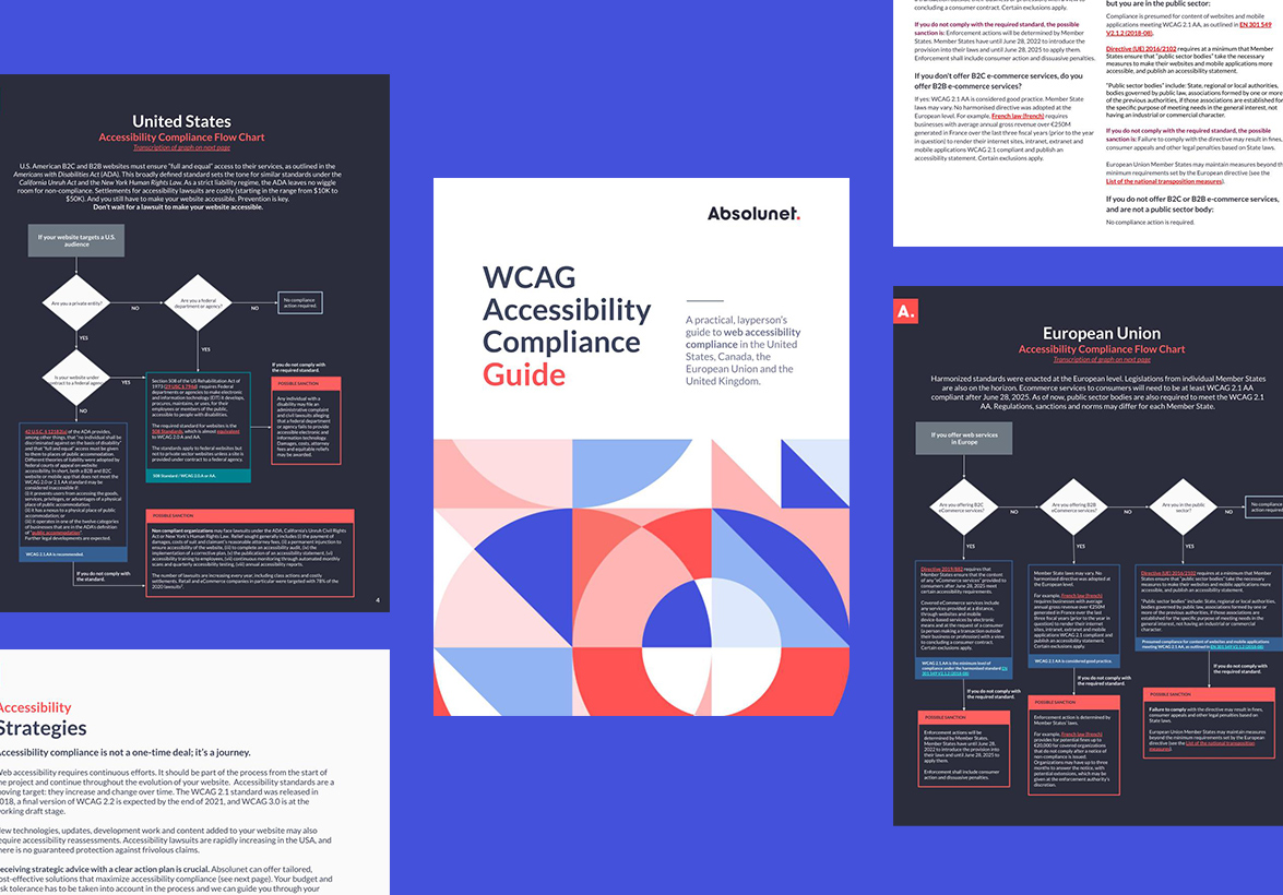 Guide de conformité WCAG sur fond bleu