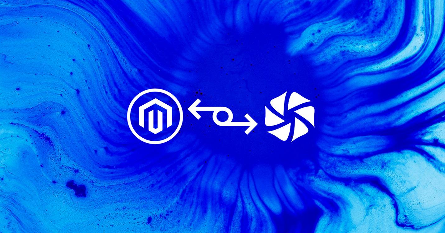 Logo inRiver et Magento connecté par un icône de connecteur