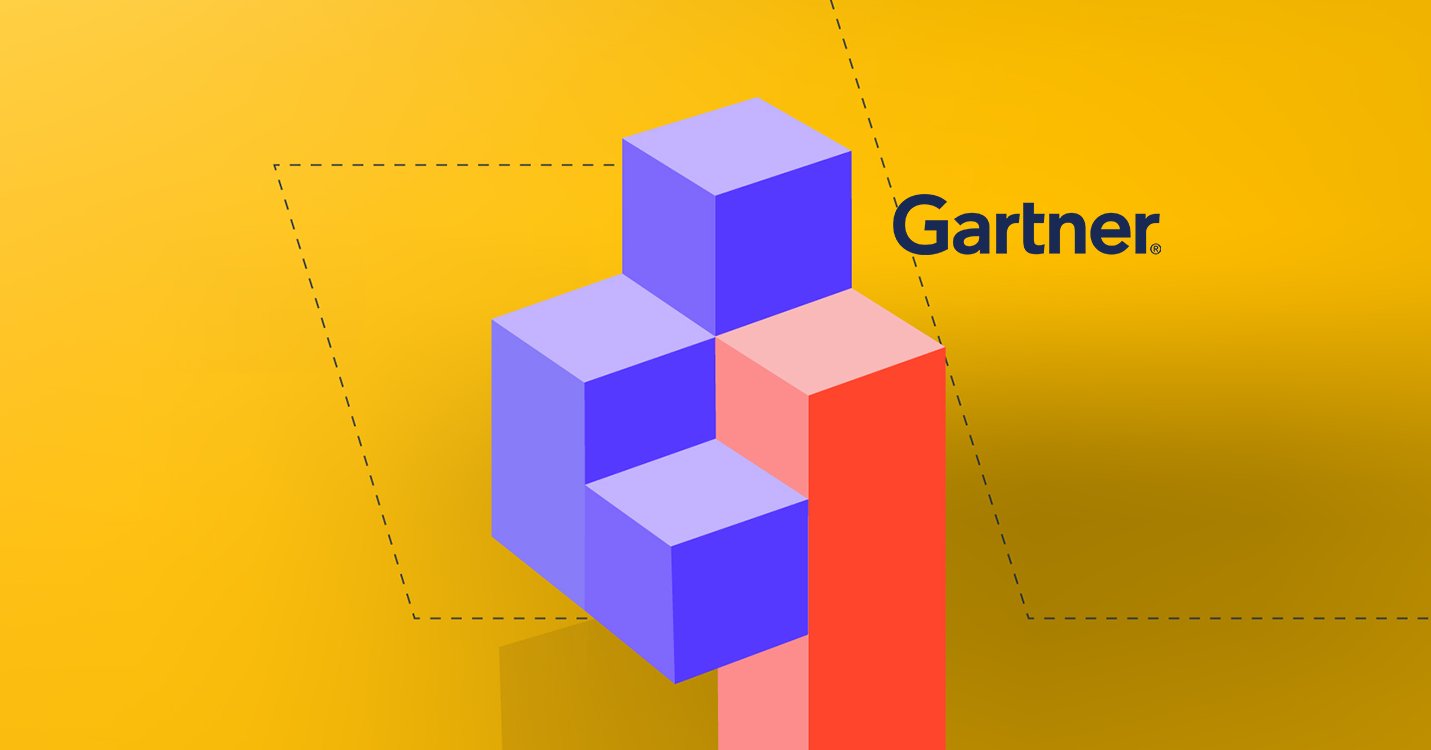 Gartner Quadrant - yellow background with the Gartner logo and purple 3d boxes.